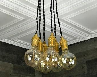 Elysium Cluster Pendant 6 Bulb Kitchen Semi Flush Light Hanging Multi Lights