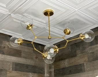 Chronos Modern Chandelier 6 Bulb 6In Globe Sputnik Mid Century Industrial Hanging Light