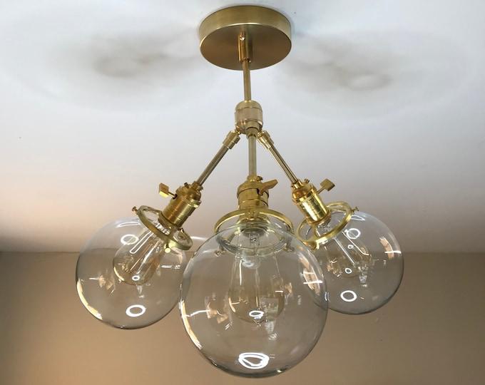 Sulit Modern Sputnik Adjustable Chandelier Gold Raw Brass 3 Light 6in Globe Mid Century Industrial Modern Living Room Kitchen Hanging Light