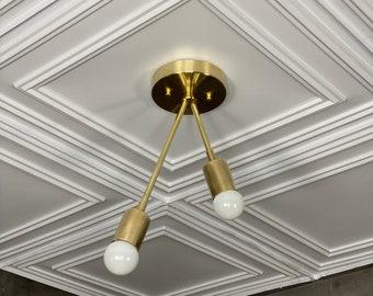 Eros Gold Brass Semi Flush Ceiling Mounted Light Fixture