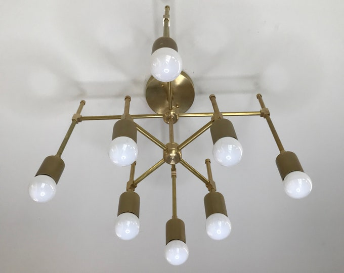 Acantha Gold Raw Brass 8 Light Modern Geometric Chandelier Mid Century Abstract Ceiling Light