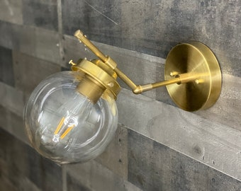 Virago Wall Sconce Single Bulb 6in Clear Globe Vanity Mid Century Industrial Modern Art Light
