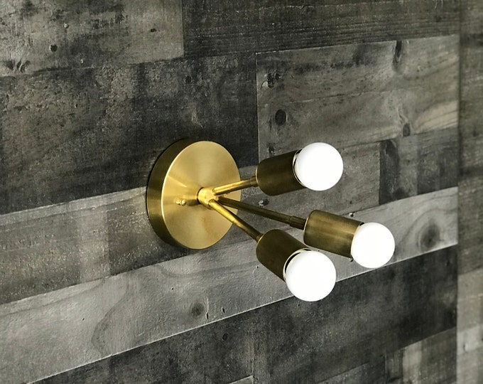 Athena Gold Raw Brass Modern 3 Bulb Sputnik Mid Century Industrial Vanity Bathroom Light