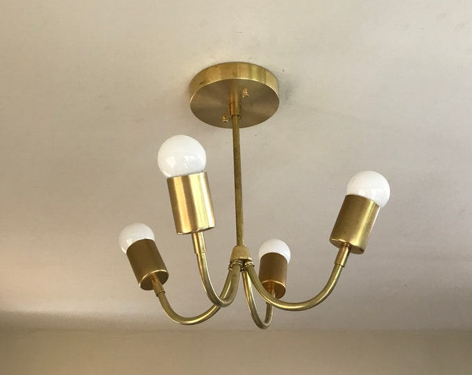 Madouk Gold Raw Brass Sputnik Modern Chandelier 4 Light Mid Century Industrial Light