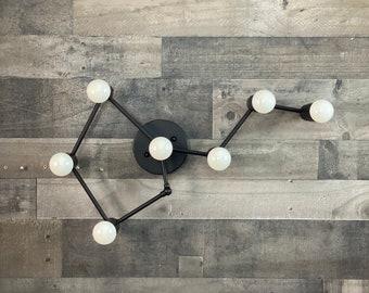 Virgo Zodiac 7 Light Sconce Modern Industrial Vanity Mid Century Bathroom Art Light