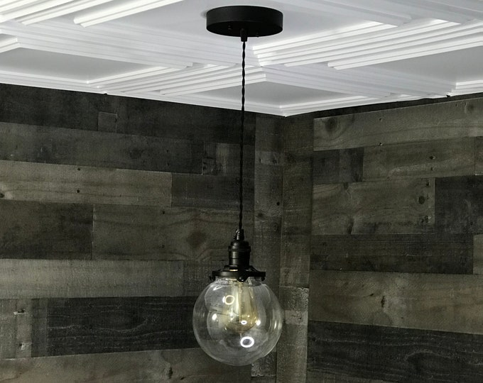 Sweven Modern Pendant Light Matte Black 6 Inch Glass Globe Hanging Light Fixtures Pendant Lamps