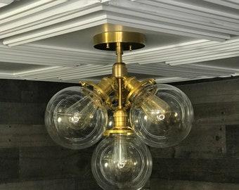 Thalia Semi Flush Modern Ceiling 4 Globe Light Mid Century Globe Hanging Light