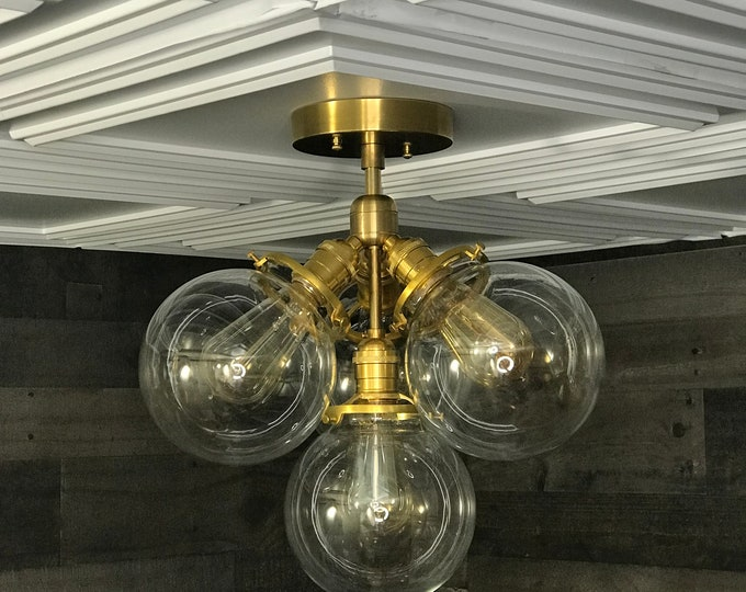 Thalia Semi Flush Raw Brass Modern Ceiling 4 Globe Light Mid Century Globe Hanging Lights