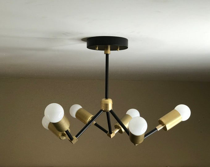 Lycus Modern Chandelier 6 Light Geometric Fixture Mid Century Ceiling Light