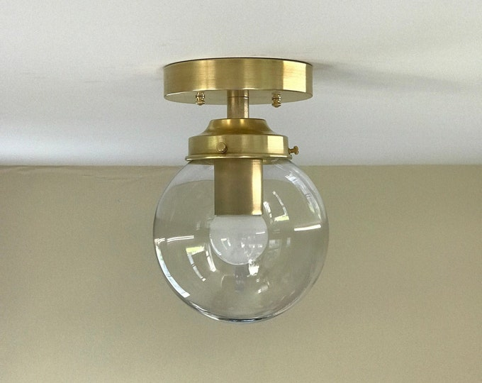 Bjorn Modern Semi Flush 6 In Clear Globe Ceiling Kitchen Light