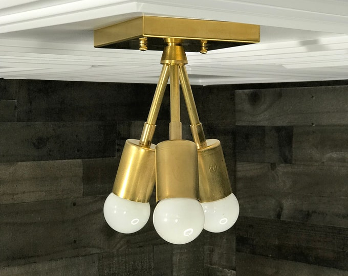 Hera Modern Chandelier Gold Raw Brass 3 Bulb Mid Century Semi Flush Light