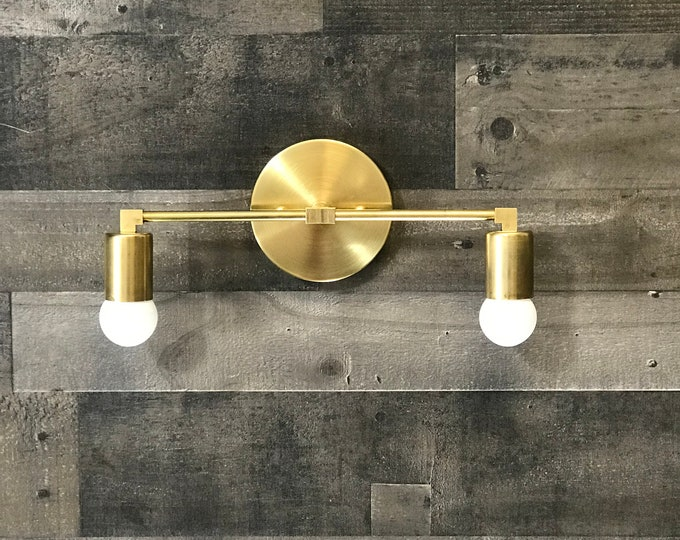 Astraea Wall Sconce Gold Raw Brass 2 Bulb Bathroom Lighting Mid Century Modern Contemporary Vanity Light