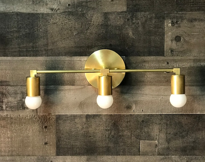 Ragnar Gold Raw Brass Modern Wall Sconce Vanity 3 Light Abstract Mid Century Industrial Bathroom Light