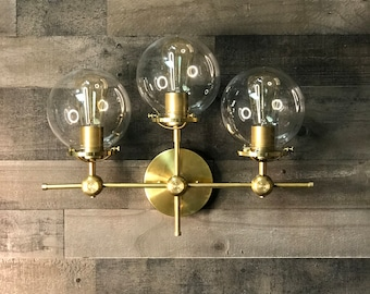 Kilig Gold Raw Brass Modern Mid Century Wall Sconce Industrial 3 Light 6 Inch Globes Vanity Light