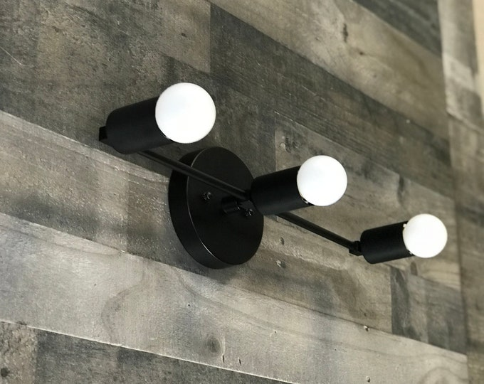 Brontes Matte Black 3 Bulb Wall Sconce Mid Century Modern Bathroom Hallway Vanity Light