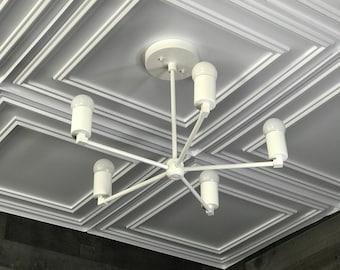 Laconic Matte White Modern Chandelier 5 Light Geometric Fixture Mid Century Industrial Ceiling Light