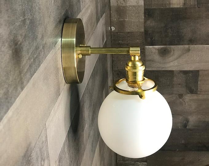Ambedo Gold Raw Brass Single Light Wall Sconce 6in Globe Vanity Century Industrial Modern