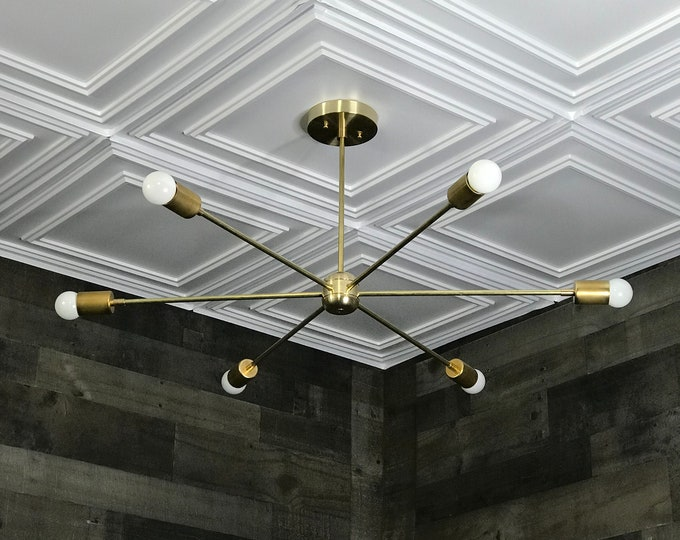 Paix Gold Raw Brass Modern Chandelier Mid Century Industrial Large 6 Bulb Ceiling Light