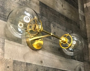 Omnia Wall Sconce Raw Brass Mid Century Modern Industrial Bathroom Lights Globe Sconce Vanity Light