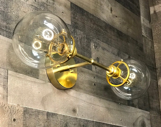 Omnia Wall Sconce Raw Brass Mid Century Modern Industrial Bathroom Lights Globe Sconce Vanity Light