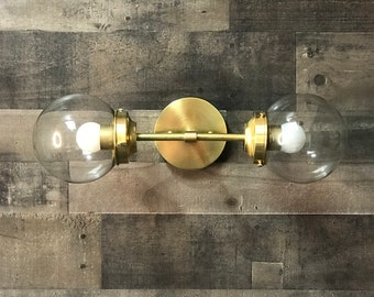 Volat Wall Sconce Mid Century Modern Industrial 2 Light 6 Inch Clear Globes Vanity Light