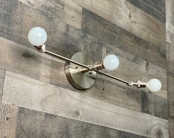 Likha 3 Bulb Candelbara Wall Sconce Mid Century Modern Bathroom Hallway Vanity Light