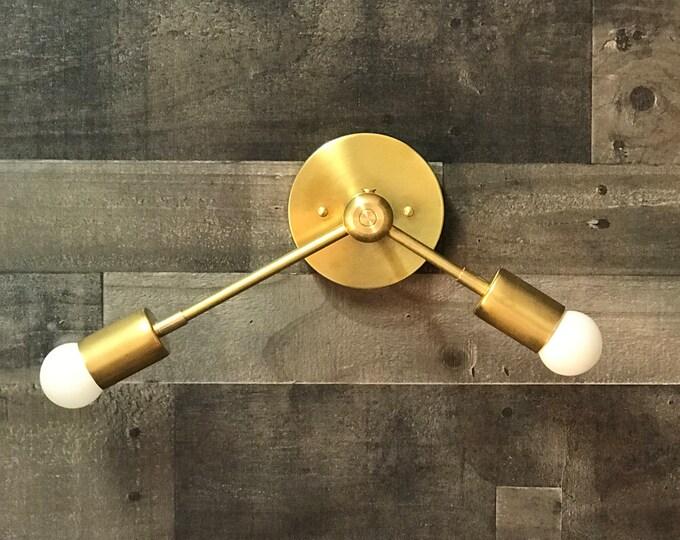 Orpheus Wall Sconce Double Bulb Modern Mid Century Industrial Hallway Bathroom Light