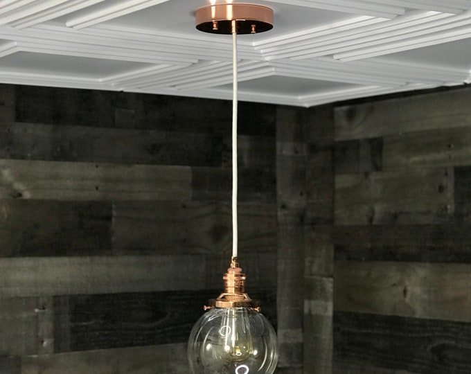 Sweven Polished Copper Modern Pendant Light 6 Inch Glass Globe Hanging Light Fixtures Pendant Lamps