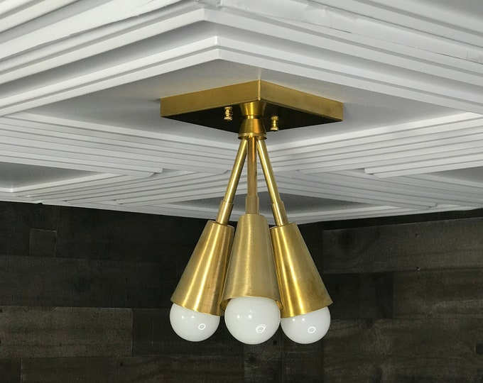 Theseus Modern Chandelier Gold Raw Brass 3 Cone Bulb Mid Century Semi Flush Light