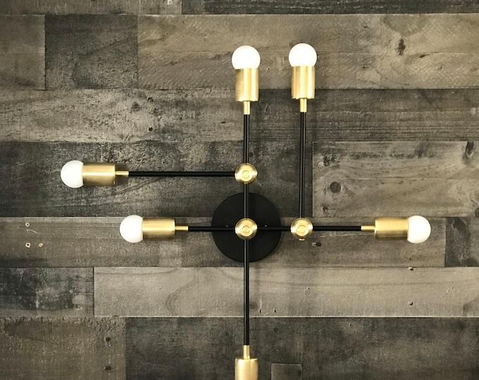 Kallisto Gold Raw Brass Modern 6 Bulb Wall Sconce Abstract Mid Century Vanity Light