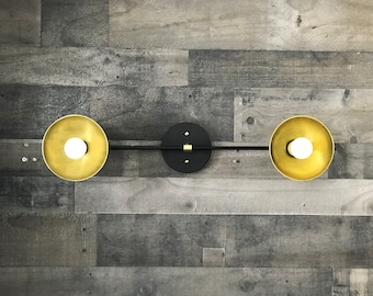 Solace Modern Wall Sconce Double Bulb 6in Dome Shades Mid Century Industrial Vanity Light