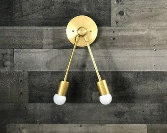 Hermes Double Bulb Adjustable Wall Sconce Vanity Mid Century Modern Light