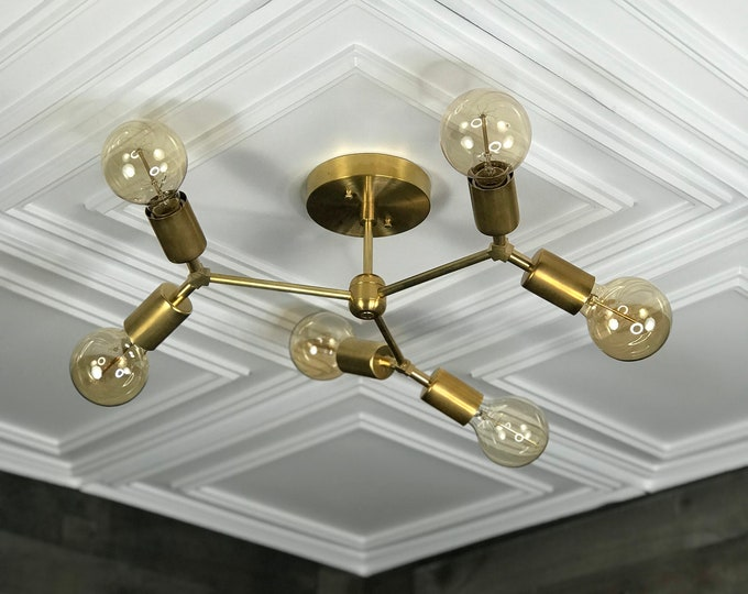Halcyon Modern Geometric Chandelier 6 Light Mid Century Industrial Light