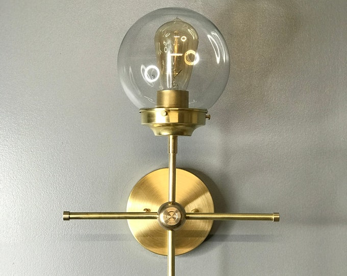 "Gold Raw Brass ""Her"" Wall Sconce Modern Industrial Vanity Mid Century Bathroom Light"