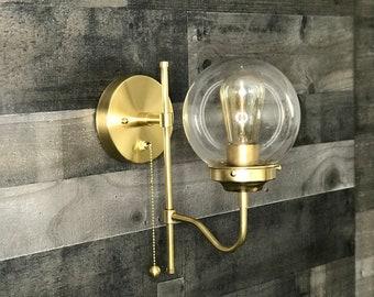 Kalon Gold Raw Brass Mid Century Modern Industrial 6in Pull Chain Vanity Light