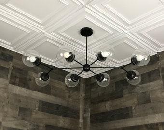 Rollo Modern Chandelier 8 Bulb 6In Globe Sputnik Mid Century Industrial Hanging Light
