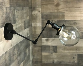 Nyx Raw Brass 6in Globe Double Arm Adjustable Wall Sconce Mid Century Industrial Vanity Light