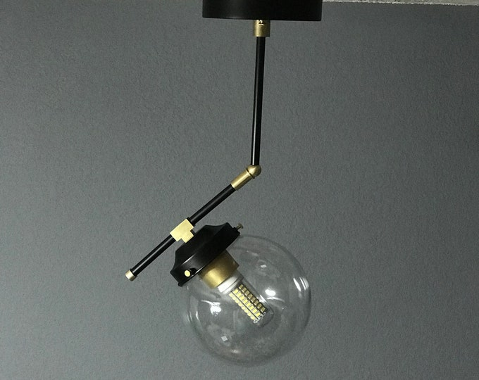 Ukiyo Black and Brass Modern Semi Flush Single Globe 6 Inch Ceiling Light Mid Century Light
