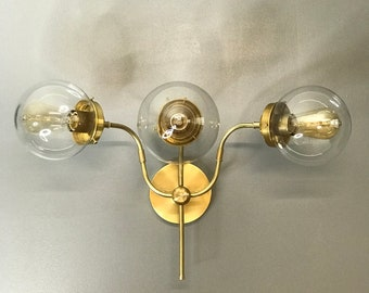 Sunflower Gold Raw Brass 3 Light 6in Clear Globes Wall Sconce Modern Industrial Mid Century Vanity Light
