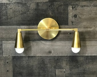 Morpheus Wall Sconce 2 Bulb Cone Bathroom Vanity Light Mid Century Modern Contemporary Lighting