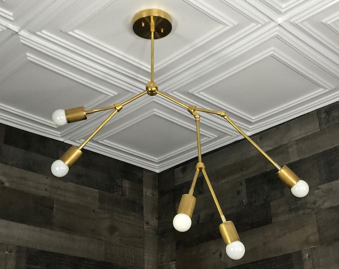 Gezel Modern Geometric Sputnik Chandelier 5 Bulb Minimalist Light