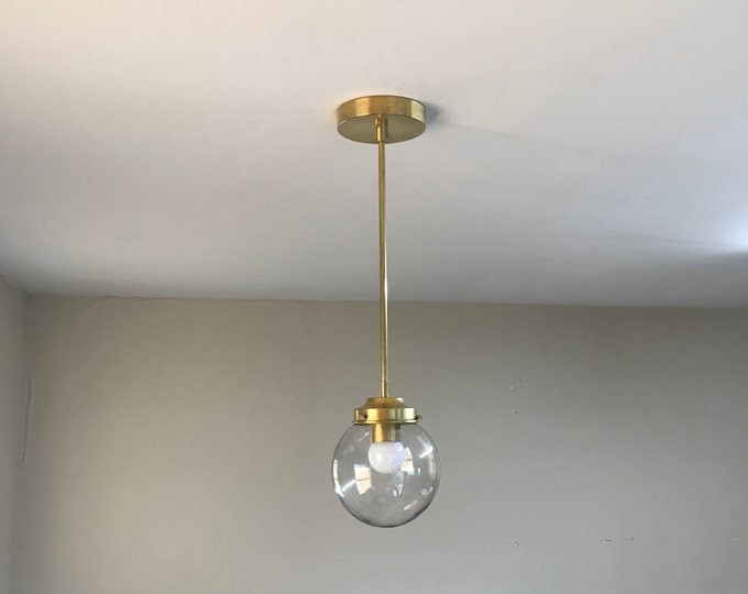 Charon Modern Chandelier Mid Century Industrial Modern 6 Inch Clear Globe Hanging Light