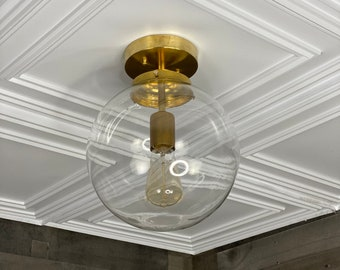 Etoile Modern Semi Flush 10 In Clear Globe Ceiling Kitchen Light