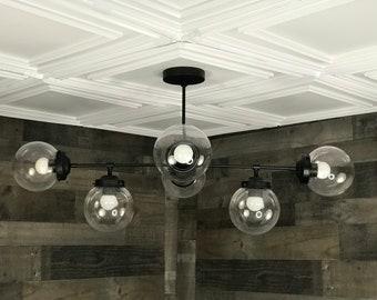 Siphon Modern Chandelier 8 Bulb 6 Globe Sputnik Mid Century Industrial Hanging Light