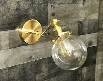 Damocles Wall Sconce Single Light Adjustable 6in Clear Globe Vanity Mid Century Industrial Modern Art Light
