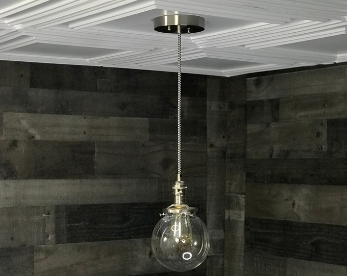 Sweven Modern Pendant Light Brushed Nickel - 6 Inch Glass Globe - Hanging Light Fixtures - Pendant Lamps
