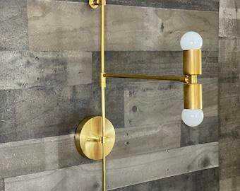 Sevdah Modern Wall Sconce 2 Bulb Swing Arm Mid Century Contemporary Lighting
