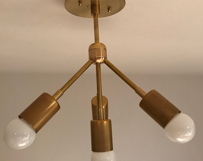Solasta Raw Brass Modern Chandelier 4 Bulb Down Sputnik Mid Century Industrial Lights