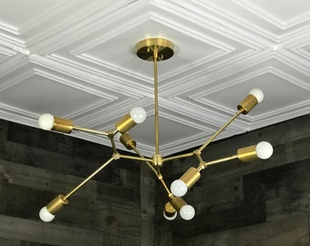 Paradorn Modern Geometric Sputnik Chandelier 9 Light Mid Century Industrial Light