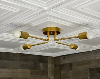 Marka Modern 4 Bulb Mid Century Semi Flush Light